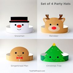 Christmas Party Hats for Kids/Adults, Christmas Paper Crowns/Headbands, Christmas Party Activities/C