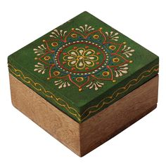 Wholesale Discount Jewelry Bulk Wholesale Handmade Square Mango-Wood Jewelry Box / Trinket Box in Neon-Green Color Decorated with Traditional-Look Motifs in Cone-Painting Art – Ethnic-Look Boxes from India Handmade Jewelry Box, Wooden Jewelry Boxes, Painted Wooden Boxes, Thrift Store Crafts, Kegel, Woodworking Box, Jewelry Quotes, Discount Jewelry, Wood Colors