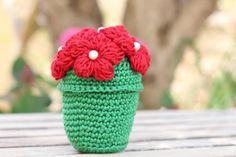 Green Red Flower Pot   Crochet Pot Flowers by etty2504 on Etsy, $28.00