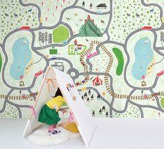 """39"""" x 39"""" Map of Little Town Wallpaper Pencil Graffiti Wall Decal Art Children's Room Study Room Alphabet Wall Paper Blue Green Wall Murals"""