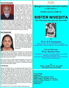 "Talk on ""SISTER NIVEDITA - The Irish woman who gave her all to India"" - http://explo.in/2kD7qMM"