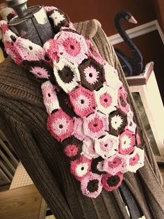 Crocheted Scarf in Pink & Brown   Flickr - Photo Sharing!