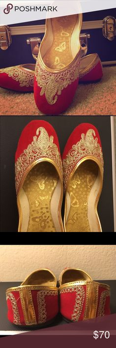Hot red and golden handcrafted shoes These are called khussa shoes which are handcrafted in india. I wore them only once to an Indian party. They are in perfect condition. Very comfortable pair of shoes . There is no left or right they take the shape of your foot . Pair them up with skinny pair of denims . They look just amazing 😊 Shoes Flats & Loafers