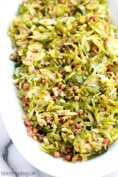 Shaved Brussel sprouts with pancetta may make everyone a f.an of Brussel sprouts