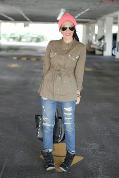 tom boy chic in beanie, boyfriend jeans, military jacket, and wedge sneakers. / the chiffon diary look