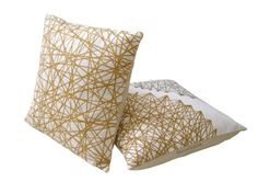 BeccaTextile Pillows. Geometry Gold Cushions.