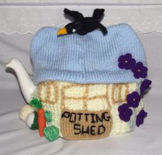 Hand Knitted Tea Cozy / cosy Beach hut Nautical by bythemill, $22.00