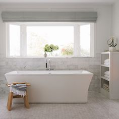 Kohler presents ideas and inspirations of kitchens, bathrooms and more with home tours, galleries, mood boards, articles and videos. Serene Bathroom, Bathroom Accent Wall, Bathroom Niche, Master Bathroom, Bathroom Ideas, Master Shower, Cow House, Stand Alone Tub, Home