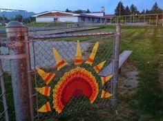 Sunrise Sunset. Public art, yarnbomb by NirvYARNah, 2014.