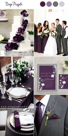 deep purple and gray classic wedding ideas wedding colors 10 Pretty Shades of Purple Wedding Color Combos Fall Wedding Colors, Wedding Color Schemes, Burgundy Wedding, Deep Purple Wedding, Wedding Tuxedo Purple, Autumn Wedding, Wedding Ideas For Fall, Eggplant Wedding Colors, January Wedding Colors