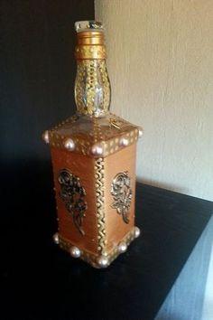 Mano decorado botella decorativa de botella por Creativladen