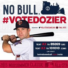 Fans, your job is NOT done! #VoteDozier into the All-Star Game as the AL's Final Vote candidate. You can vote for @briandozier by texting and at the link in our profile. ⚾️