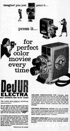https://flic.kr/p/tTtG1N | Vintage Newspaper Advertising For The DeJUR Electra 8mm Movie Camera In The East Liverpool Ohio Evening Review, October 8, 1958