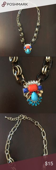 Tortoise Chain & Pendant Necklace Look a like, not actually J Crew. Statement necklace with tortoise chain links & multi colored pendant. Slam pen dot on orange stone (can see if you zoom on second pic) J. Crew Jewelry Necklaces