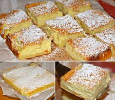 This is a very unique cake. A magic custard cake begins pretty much with a basic cake batter and transforms it literally into a magical cake with a custard layer. Magic Custard Cake Ingredients: 4 eggs (whites separated from yolks), … Just Desserts, Delicious Desserts, Yummy Food, Sweet Recipes, Cake Recipes, Dessert Recipes, Egg Recipes, Casserole Recipes, Basic Cake
