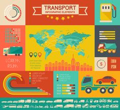 Transportation Flat Infographics Templates on Behance