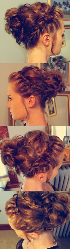Braided messy bun updo - i wish I had the dexterity for this stuff. Mine always ends up looking like a 5 yr old did it.