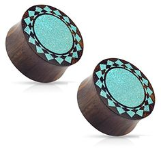 """Crushed Turquoise Tribal Sunburst Inlaid Organic Sono Wood Double Flared Saddle Ear Plugs Gauges - Sold As Pair (22mm - 7/8""""). Crushed Turquoise Tribal Sunburst Inlaid Organic Sono Wood Double Flared Saddle Plugs. Choose your pair size - from 00GA (10mm) - 1"""" (25mm). Barrel width: 11mm. Material: Organic Sono Wood, Crushed Turquoise. Please be advised that there may be some variance in color and tone, due to the product being made from raw, natural materials."""