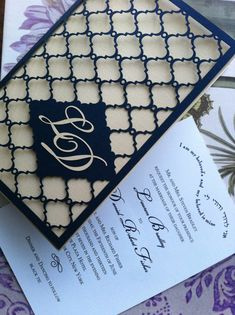 Wedding Invitations Laser Cut New Laser Cut Wedding Invitation Monogram Mesh Gate Custom Monogram Wedding Invitations, Laser Cut Invitation, Wedding Invitation Templates, Wedding Stationary, Invitation Cards, Invites, Wedding Cards, Diy Wedding, Elegant Wedding
