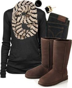 Start with the boots! I love the chocolate color