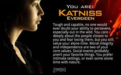 I took Zimbio's 'Hunger Games' personality quiz, and I am Katniss Everdeen! Who are you?null - Quiz