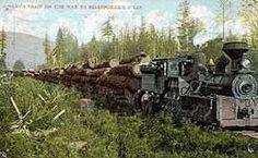 steam log train heading to the lumber mill circa 1910
