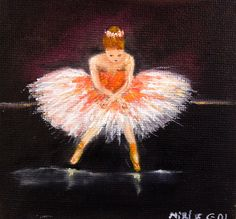 BALLET DANCER original oil painting mini art from my  by GretaArts