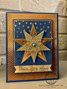 Metallic Stars Holiday Card Stampin Up Christmas, Christmas Cards To Make, Holiday Cards, Christmas Stars, Handmade Birthday Cards, Greeting Cards Handmade, Hero Arts Cards, Snowflake Cards, Snowflakes