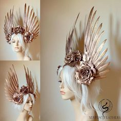 Gold Wings & Roses Headdress -Rose Gold Wings & Roses Headdress - DIY Glitter Crown How to make a glitter crown video. Thanks to the authors of this nice tutorial! a Gold Wings & Roses Headdress Made to order: goddess angel Bijoux Design, Fantasias Halloween, Diy Crown, Cosplay Diy, Halloween Disfraces, Fascinators, Headpieces, Hair Jewelry, Headdress