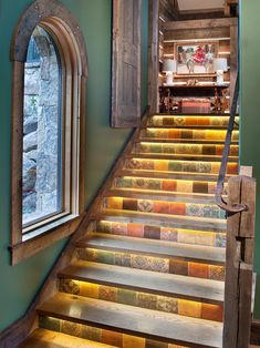 Cool Floor Tiles Stairs for Your Stair Decor : Beautiful Rustic Floor Tiles Staircase With Stairs Lightings