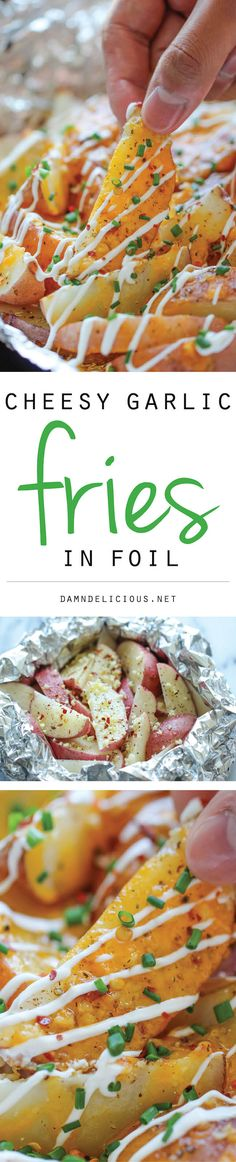 Cheesy Garlic Fries in Foil - The easiest, cheesiest fries you will ever make in foil packets, baked to absolute crisp perfection!