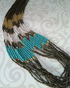 Turquoise & grey Multistrand beaded necklace Gold tone Seed bead Jewelry