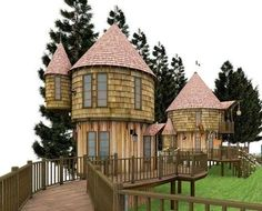 Rowling Plans Immense Harry Potter Hogwarts Treehouse Playground In Her Backyard. It includes two treehouses that resemble Hogwarts-like turrets. They are connected by rope bridge and can be accessed by a secret tunnel. Luxury Tree Houses, Cool Tree Houses, Amazing Houses, Treehouse Masters, Harry Potter Author, Playhouse Plans, Castle Playhouse, Tree House Designs, Forest Design