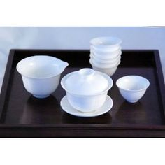 White Lotus Chinese Gaiwan Set (Comprised of 3-piece Gaiwan, Fairness Pitcher and 6 Tea Cups) - Made of Fine Bone China