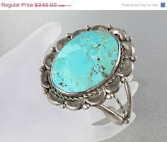 Large Vintage C Lee Navajo Sterling Turquoise Cuff by RMSjewels, $196.00