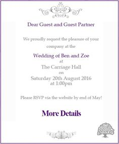 Email Wedding invitations by Paperless Wedding - Purple Formal Swirls. Matching wedding website and FREE save the dates also available at www.paperlesswedd... also available on the NZ and Australian sites. #wedding #purple #invitation #website #swirls