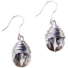 Bridget-Crystal Earrings via Polyvore featuring jewelry, earrings, wrap earrings, crystal earrings, crystal jewelry, teardrop earrings and crystal teardrop earrings