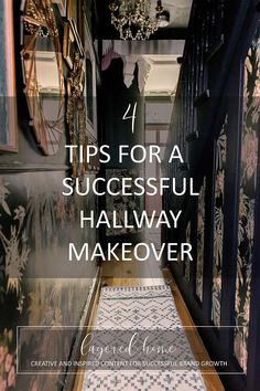 4-tips-successful-hallway-makeover Dark Blue Hallway, Pink Hallway, Hallway Colours, Dark Green Living Room, Green Lounge, Diy Projects On A Budget, Dado Rail, Dark Blue Green, Paint Brands