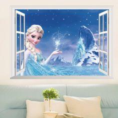 3D Effect Princess Queen Window Wall Stickers For Kids Rooms Decor Cartoon Wall