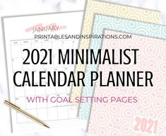 Free 2021 Monthly Goals Calendar Printable! - Printables and Inspirations Goal Calendar, Calendar Design, 2021 Calendar, Goals Planner, Budget Planner, Planner Pages, College Planner, Fitness Planner, Happy Planner