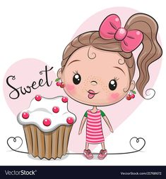 Illustration about Greeting card Cute Cartoon Girl with cake. Illustration of birthday, decoration, baby - 123235741 Cartoon Painting, Cartoon Girl Drawing, Cartoon Drawings, Cute Drawings, Cartoon Cartoon, Cute Cartoon Girl, Cartoon Girl Images, Scrapbook Images, Cake Vector
