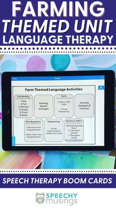 Have you ever wished you had a bundle of themed Speechy Musings resources at the ready for certain themes or times of year? Look no further! This themed language therapy unit includes a wide variety of materials and resources for your speech therapy students with language goals using a farming theme. Targets core vocabulary (help, eat), Basic concepts (dirty, full), Categories (food, farm animals), Describing (farm animals, farm tools, farmer), and more. #speechtherapy #farmactivities Receptive Language, Speech And Language, Speech Therapy Activities, Language Activities, Wh Questions, This Or That Questions, Farm Tools, Farm Animals, Farming