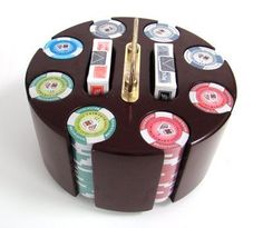 200 11.5 Gram Tournament Pro Poker Chips & Wooden Carousel by Brybelly. $32.99