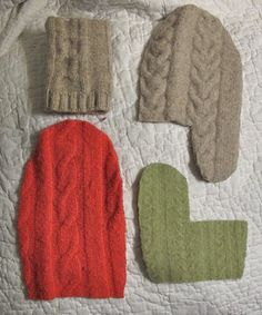 New knitting mittens tutorial wool sweaters Ideas Sweater Mittens, Crochet Mittens, Mittens Pattern, Fingerless Mittens, Crochet Blanket Patterns, Wool Sweaters, Hat Patterns, Stitch Patterns, Knitting Patterns