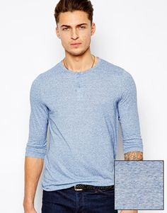 ASOS 3/4 Sleeve Grandad In Neppy Fabric