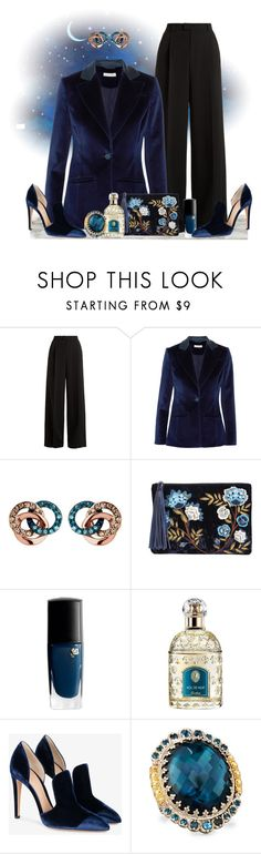 """""""She Wore Blue Velvet ..."""" by krusie ❤ liked on Polyvore featuring RED Valentino, Altuzarra, Links of London, Sam Edelman, Lancôme, Guerlain, Gianvito Rossi and Konstantino"""
