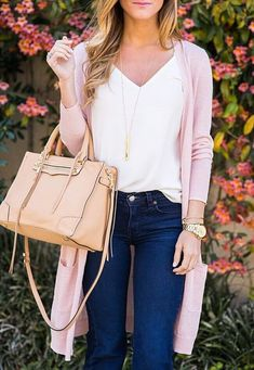 I like the v-neck style of this top, especially with a cardigan. However, I don't like the long cardigan- they tend to make me look short