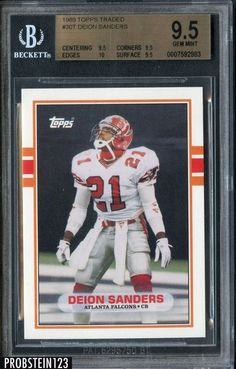 1989 topps traded  30t deion sanders atlanta falcons rc rookie psa 9.5 w   10 from  0.99 fa0b1d139