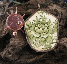 PENDANT FLORAL POTTERY shard Pendant Soldered Edging with a 18 inch Green Nyon Necklace and Lobster Claw Clasp,ooak by McWilliamsBopArt on Etsy