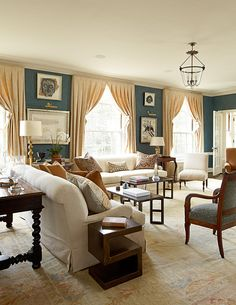 blue walls, neutral drapes